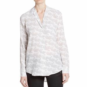 Equipment horse print 100% silk shirt